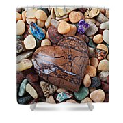 Heart Stone Among River Stones Shower Curtain
