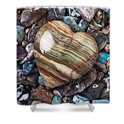 Heart Stone Shower Curtain by Garry Gay