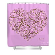 Heart With Pink Flowers And Swirls Shower Curtain