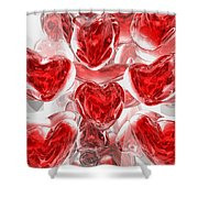 Hearts Afire Abstract Shower Curtain