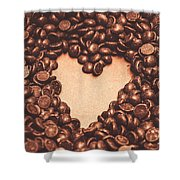 Hearts And Chocolate Drops. Valentines Background Shower Curtain