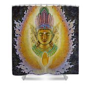 Heart's Fire Buddha Shower Curtain