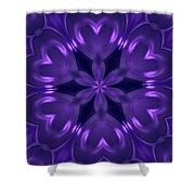 Hearts Of Purple Kaleidoscope Shower Curtain
