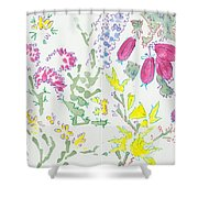 Heather And Gorse Watercolor Illustration Pattern Shower Curtain