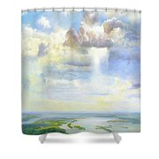 Heavenly Clouded Beauty Abstract Realism Shower Curtain