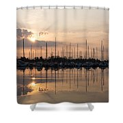 Heavenly Sunrays - Peaches-and-cream Sunrise With Boats Shower Curtain