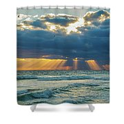 Heavenly Sunrise Panorama At Riviera Beach  Shower Curtain