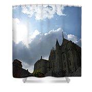 Heavens Above Mont St. Michel Abbey Shower Curtain