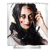 Heavy Metal Zombie Woman Wearing Headphones Shower Curtain
