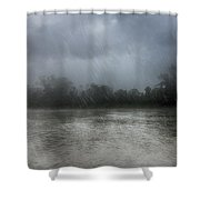 Heavy Rain Over A River Shower Curtain