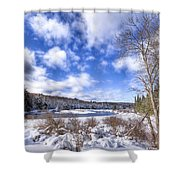 Heavy Snow At The Green Bridge Shower Curtain