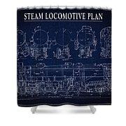 Heavy Steam Locomotive Blueprint Shower Curtain