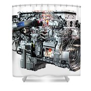 Heavy Truck Diesel Engine Isolated Shower Curtain
