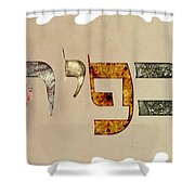 Hebrew Calligraphy- Kfir Shower Curtain