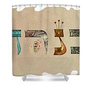 Hebrew Calligraphy- Kineret Shower Curtain