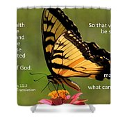 Hebrews Scripture Butterfly Shower Curtain
