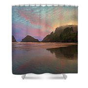 Heceta Head Lighthouse Foggy Sunset Shower Curtain