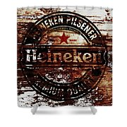 Heineken Beer Wood Sign 1j Shower Curtain
