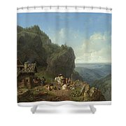 Heinrich Burkel 1802 - 1869 German Wirtshaus Auf Der Alm Mit Alpzug Tavern In The Alps Shower Curtain