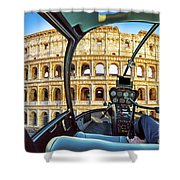 Helicopter On Colosseo Shower Curtain