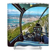 Helicopter On Gibraltar Rock Shower Curtain