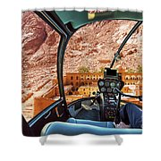 Helicopter On Monastery Of St Catherine Shower Curtain