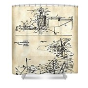 Helicopter Patent 1940 - Vintage Shower Curtain