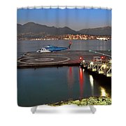 Heliport In The Vancouver's Port Shower Curtain