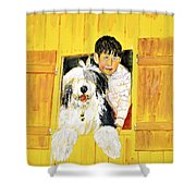 Hello Friends, We Are Here Shower Curtain