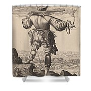 Helmeted Musketeer Shower Curtain