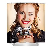 Help At Hand With Retro Woman Offering Assistance Shower Curtain
