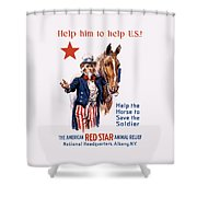 Help The Horse To Save The Soldier Shower Curtain