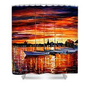 Helsinki - Sailboats At Yacht Club Shower Curtain