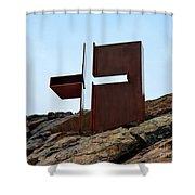 Helsinki Rock Church Cross Shower Curtain