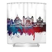 Helsinki Skyline City Blue Shower Curtain