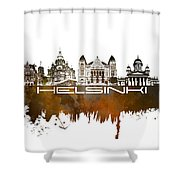 Helsinki Skyline City Brown Shower Curtain