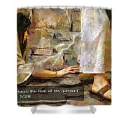 Hem Of His Garment And Text Shower Curtain