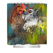Hen Love Shower Curtain