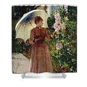 Henri Emile De Sachy France 19th Century Elegant Young Lady In The Garden Walk At Hollyhocks Shower Curtain