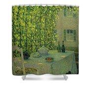 Henri Le Sidaner 1862 - 1939 The Village Table Gerberoy Shower Curtain
