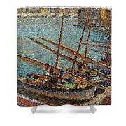 Henri Martin 1860 - 1943 Boats To Collioure Shower Curtain