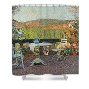 Henri Martin 1860 - 1943 Tea Time On The Terrace Marquayrol Shower Curtain