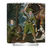 Henry Frederick 15941612 Prince Of Wales With Sir John Harington 15921614 In The Hunting Field Shower Curtain