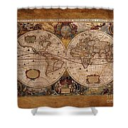 Henry Hondius Seventeenth Century World Map Shower Curtain by Skye Ryan-Evans