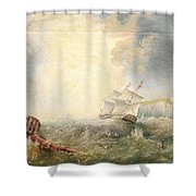 Henry Redmore Running Up The Coast In Heavy Seas, 1856 Shower Curtain