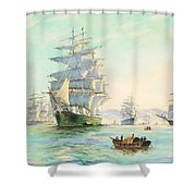 Tranquil Morning - Foochow, The Famous Clipper Thermopylae At Anchor Shower Curtain