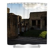 Herculaneum Ruins - Mosaic Tile Streets And Sun Splashes Shower Curtain