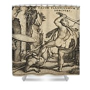 Hercules Killing Cacus At His Cave Shower Curtain