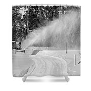 Here Comes That Snowblower Again Shower Curtain