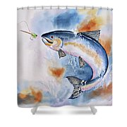 Here Fishy, Fishy Shower Curtain